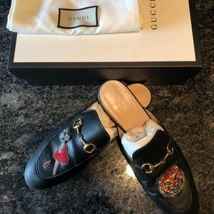 Gucci Princetown Lion and Pierced Heart Loafers